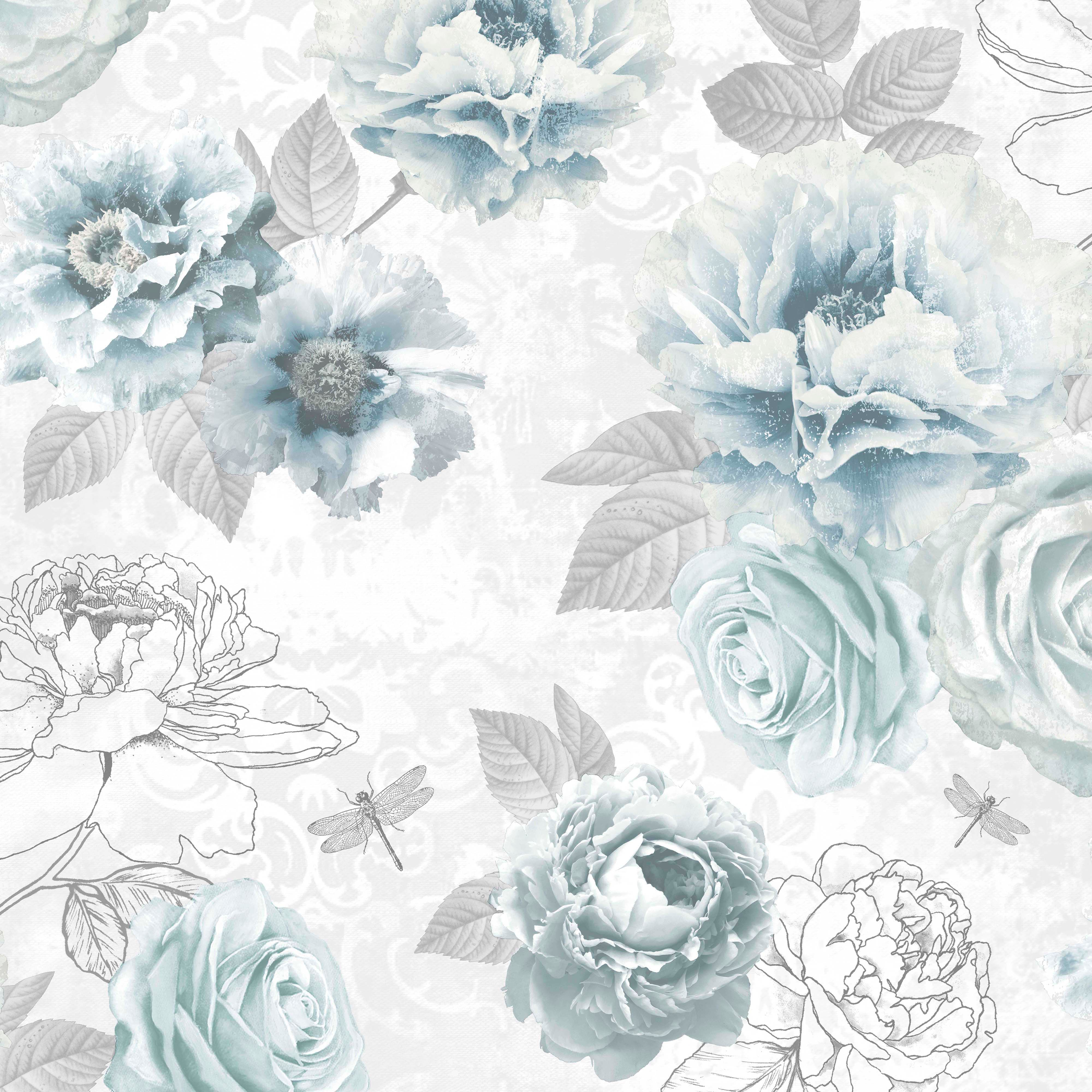 blue flower wallpaper b q