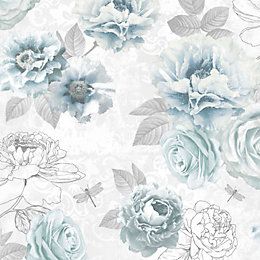 Graham & Brown Fresco Blue Floral Wallpaper