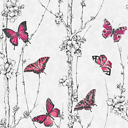 Graham & Brown Fresco Pink & White Butterfly