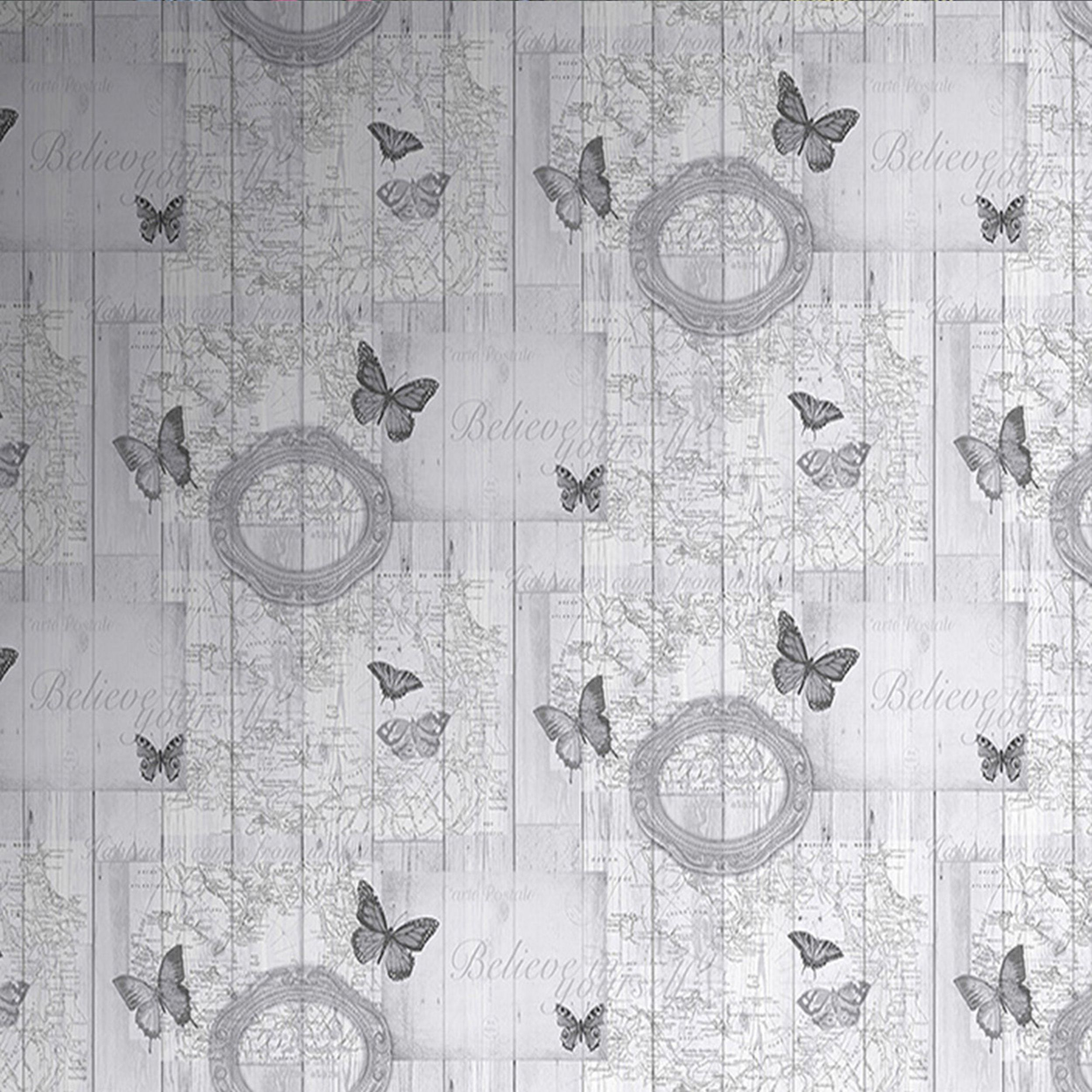 Fresco Charcoal Vintage Butterflies Smooth Finish Wallpaper