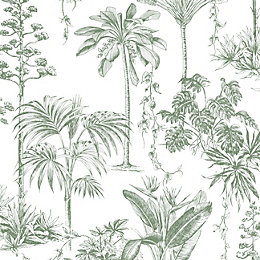 Graham & Brown Brunei Green Trees Fibrous Wallpaper