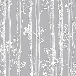 Graham & Brown Linden Grey Trees Fibrous Wallpaper