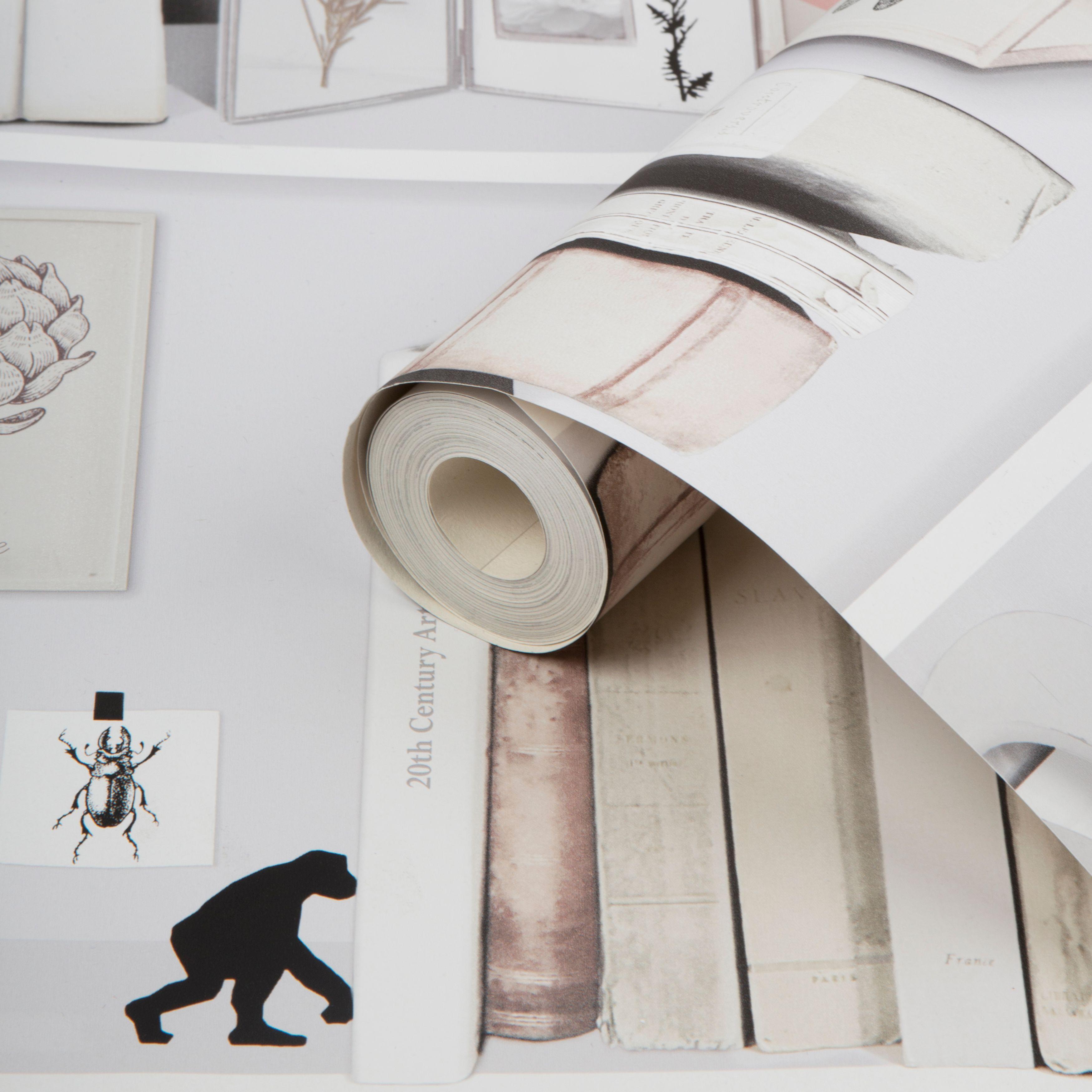 fresco stockholm cream library wallpaper departments