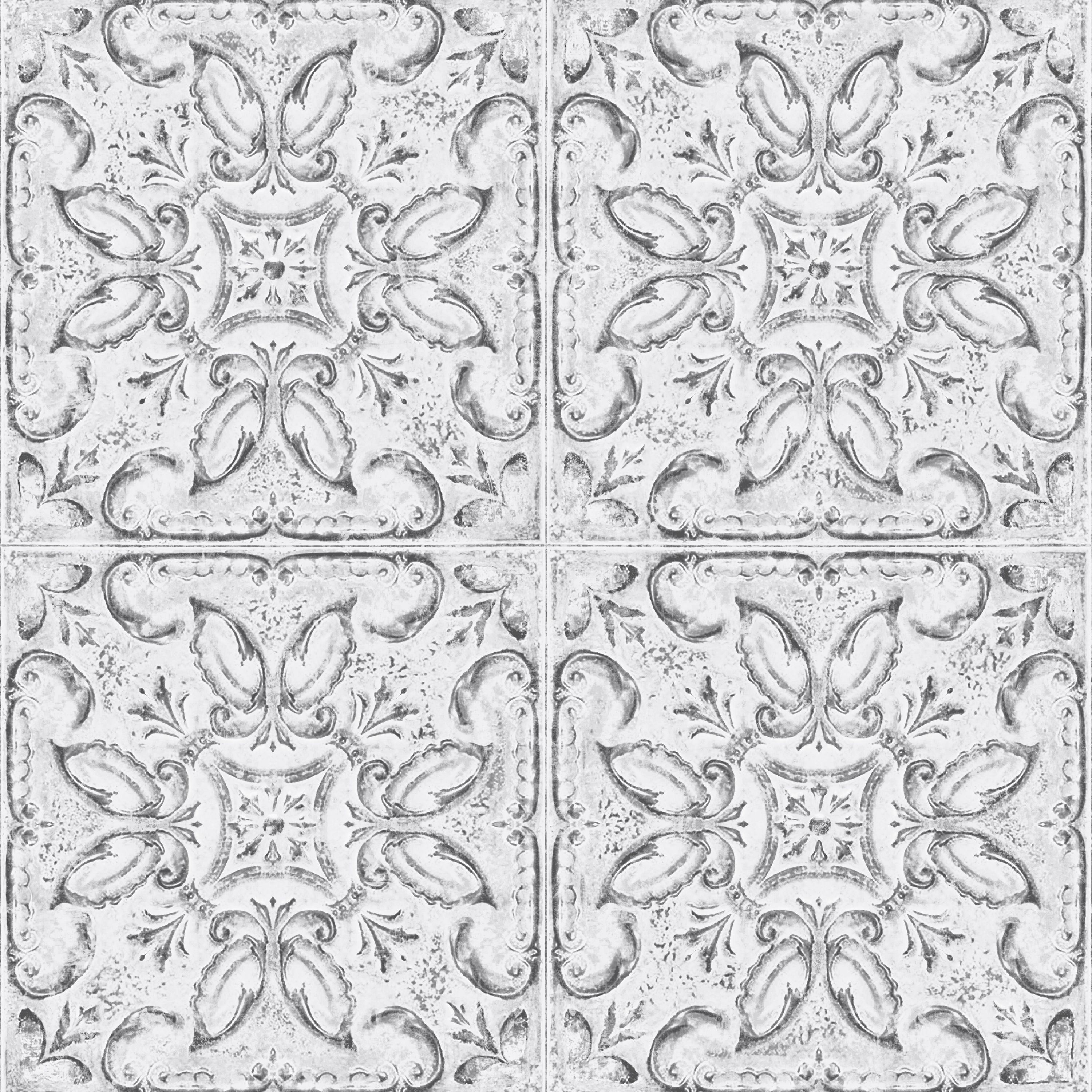Love Lace White Metallic Effect Wallpaper : contour White Vintage Tin Tile Metallic Effect Wallpaper Departments DIY at B&Q