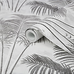 Superfresco Easy Paume Black Palm Leaf Wallpaper