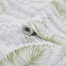 Superfresco Easy Daintree Green & Silver Palm Leaf