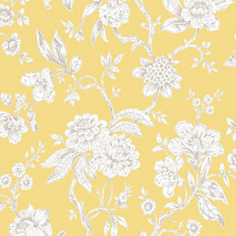 Boutique Meadow Land Yellow Floral Metallic Effect Wallpaper