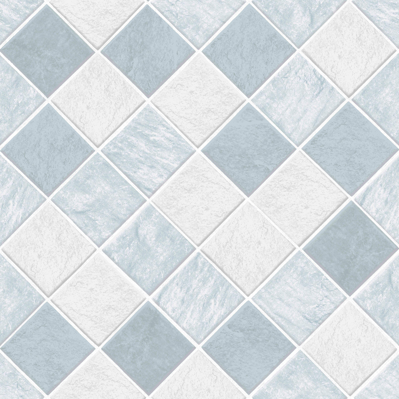 Contour horizon blue tile textured wallpaper departments for Wickes bathroom wallpaper