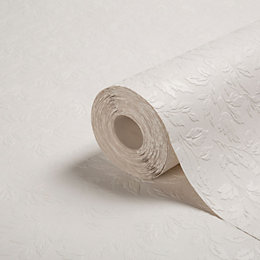 Graham & Brown Superfresco White Leaf Effect Paintable