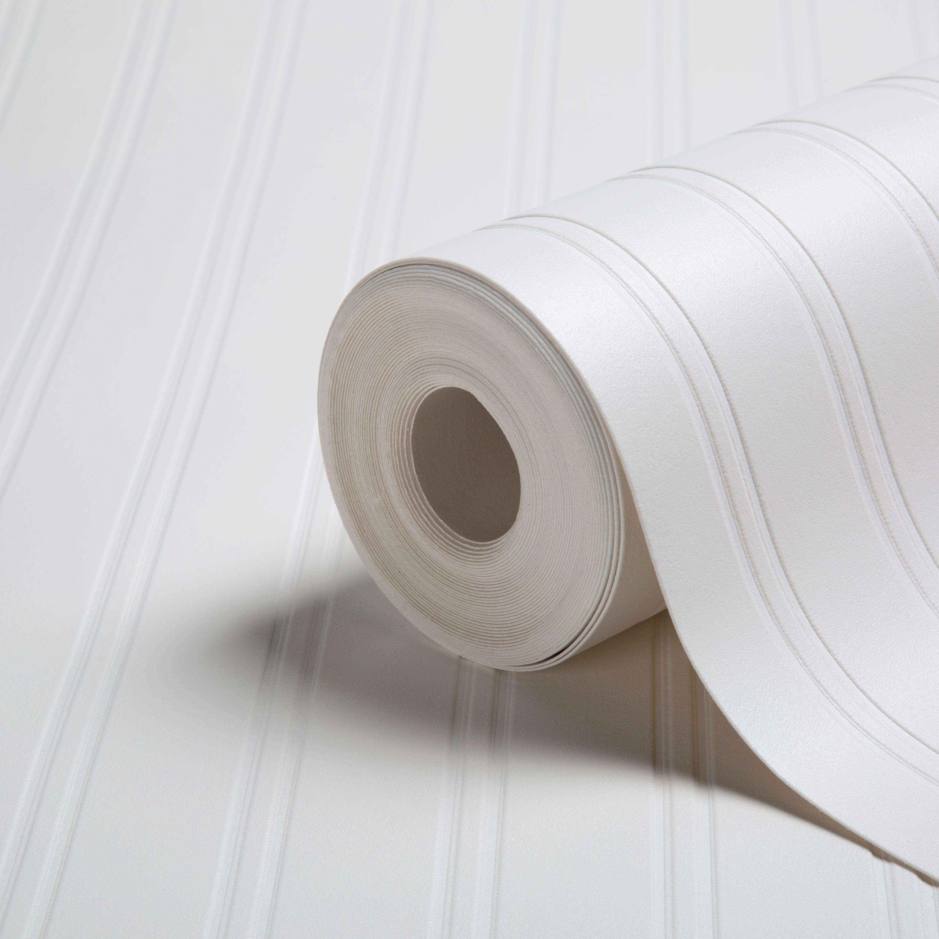 Walldoctor Beadboard White Striped Textured Paintable Wallpaper