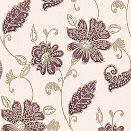 Graham & Brown Juliet Beige & Plum Floral