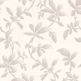 Graham & Brown Sarra Silver Leaves Silver Effect