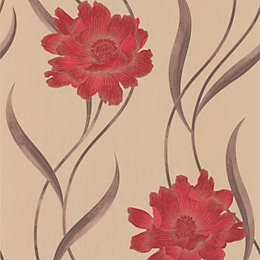 Graham & Brown Superfresco Beige & Red Poppy