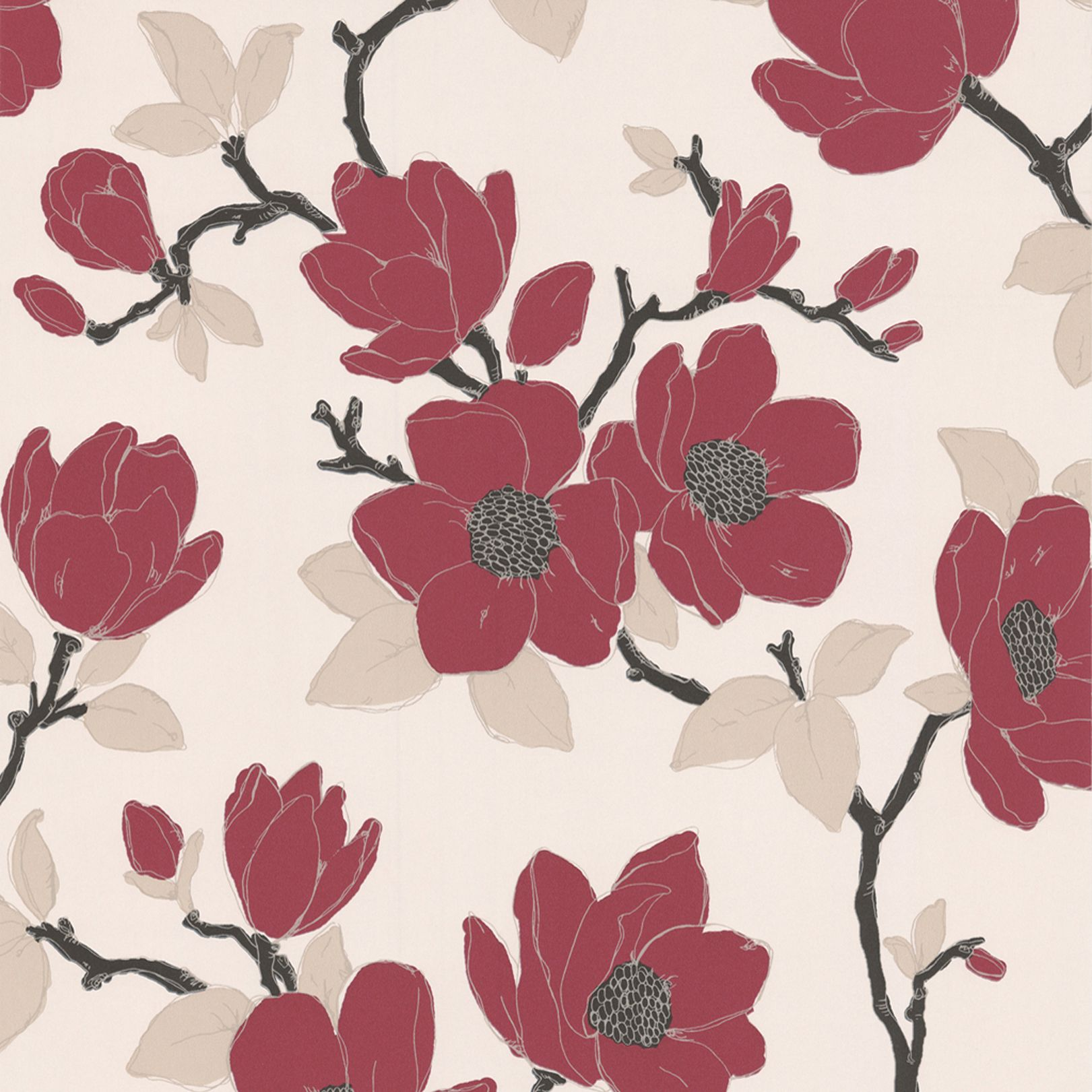 Colours Camelia Cream & Green Floral Mica Effect Wallpaper