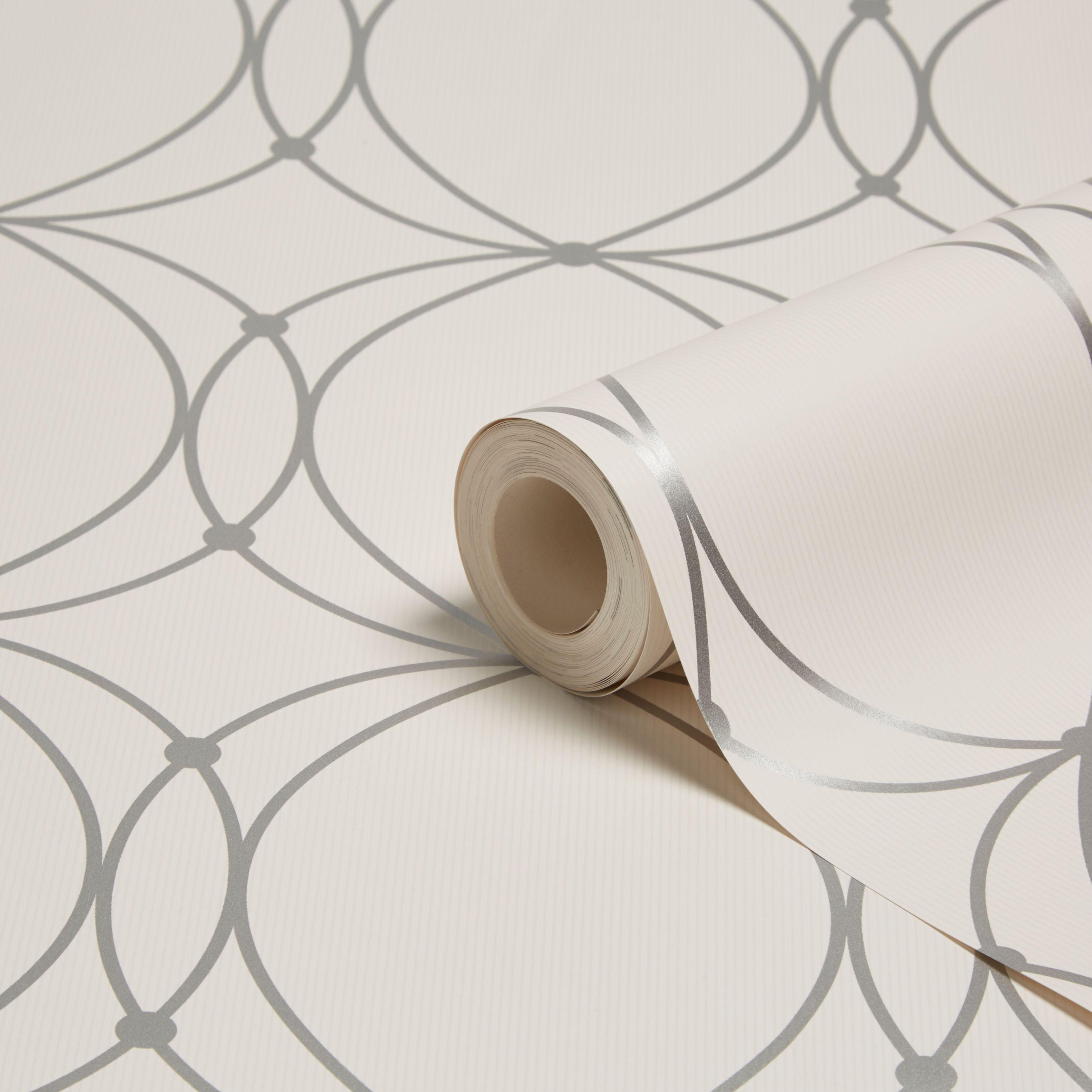 Graham & Brown Darcy Pearl & Silver Circles Wallpaper