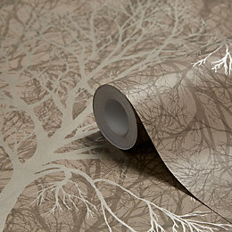 Graham & Brown Enchant Golden Brown Trees Wallpaper
