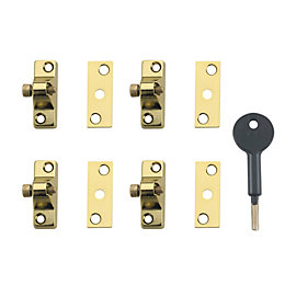 Yale Polished Brass Window Lock, Pack of 4