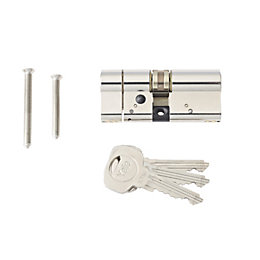Yale 70mm Nickel-Plated Brass Euro Double Cylinder Lock