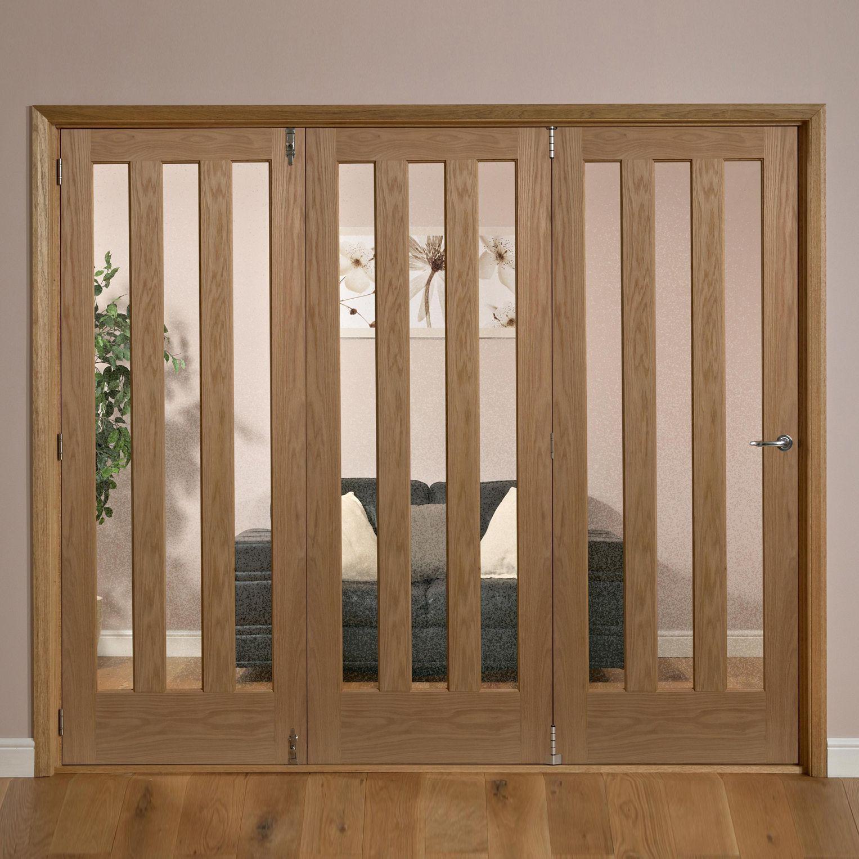 Saxton Vertical 3 Lite Oak Veneer Glazed Internal Folding Door Lh, (h)2035mm (w)2146mm