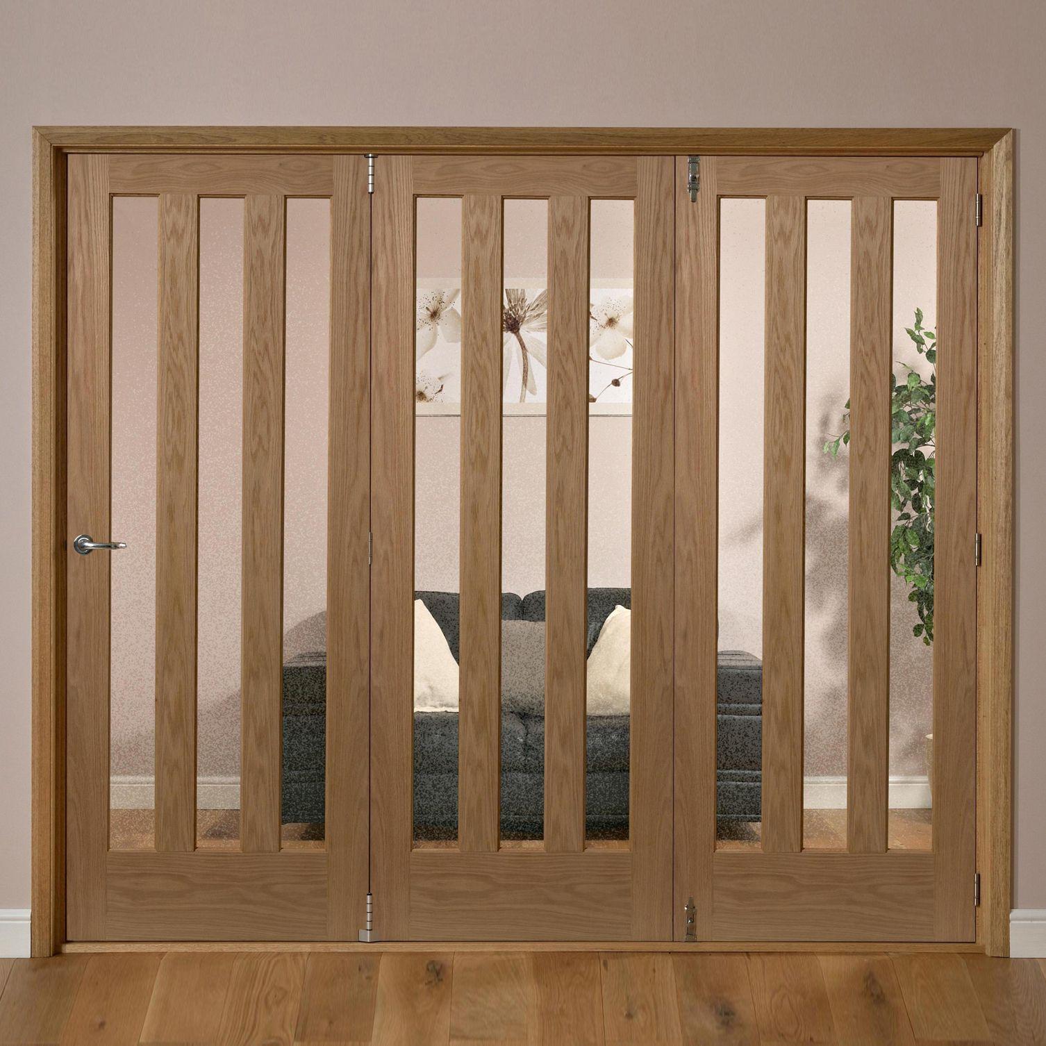 Saxton Vertical 3 Lite Oak Veneer Glazed Internal Folding Door Rh, (h)2035mm (w)2146mm