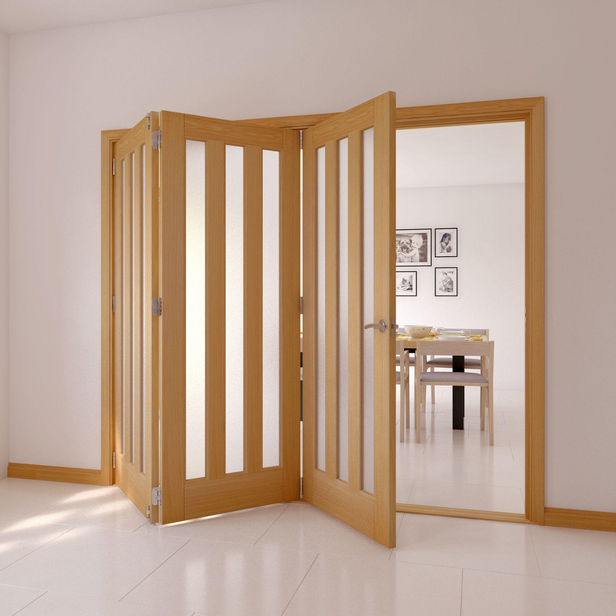 Saxton Vertical 3 Lite Oak Veneer Glazed Internal Folding Door Lh, (h)2035mm (w)2374mm