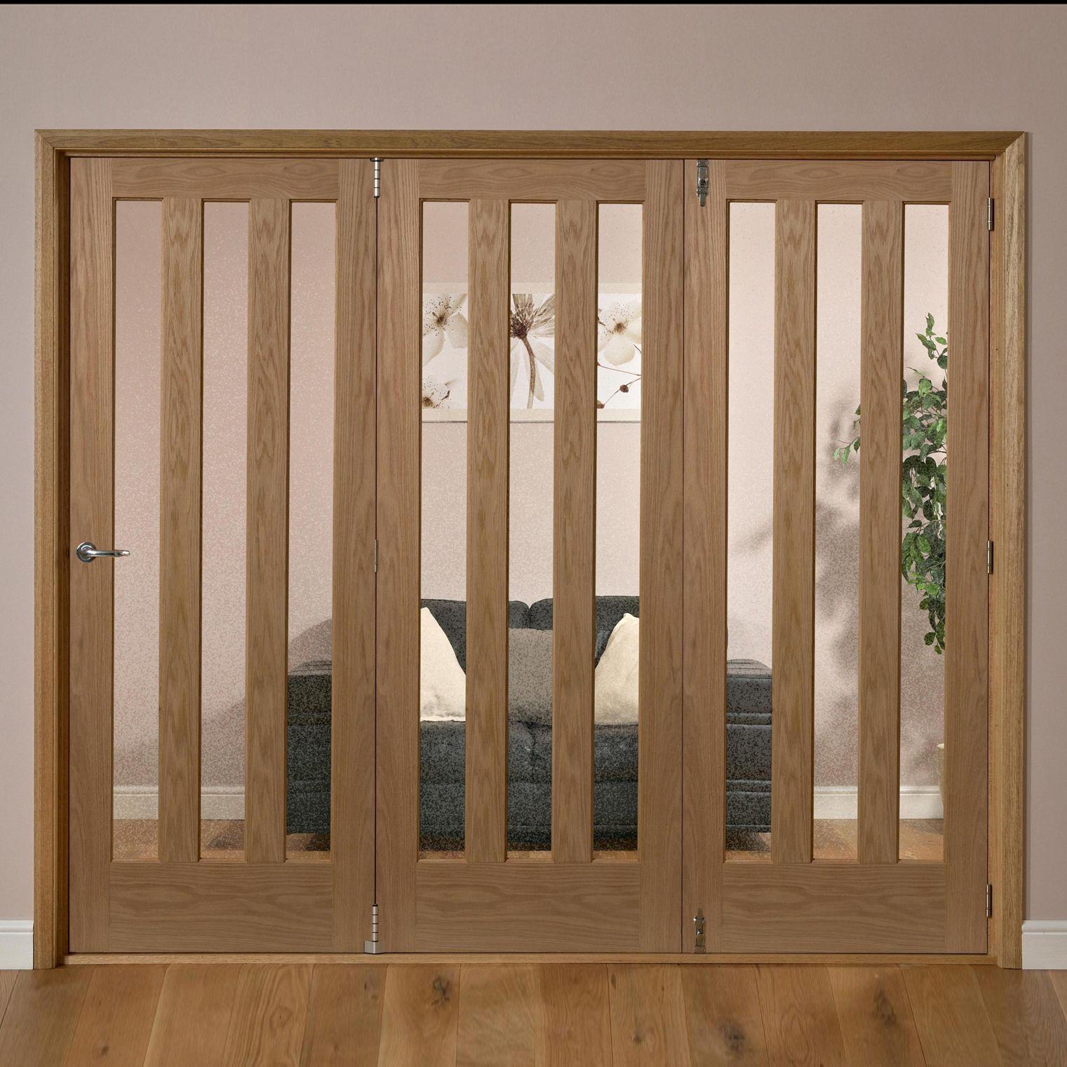 Saxton Vertical 3 Lite Oak Veneer Glazed Internal Folding Door Rh, (h)2035mm (w)2374mm