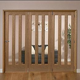 Saxton Vertical 3 Lite Oak Veneer Glazed Internal