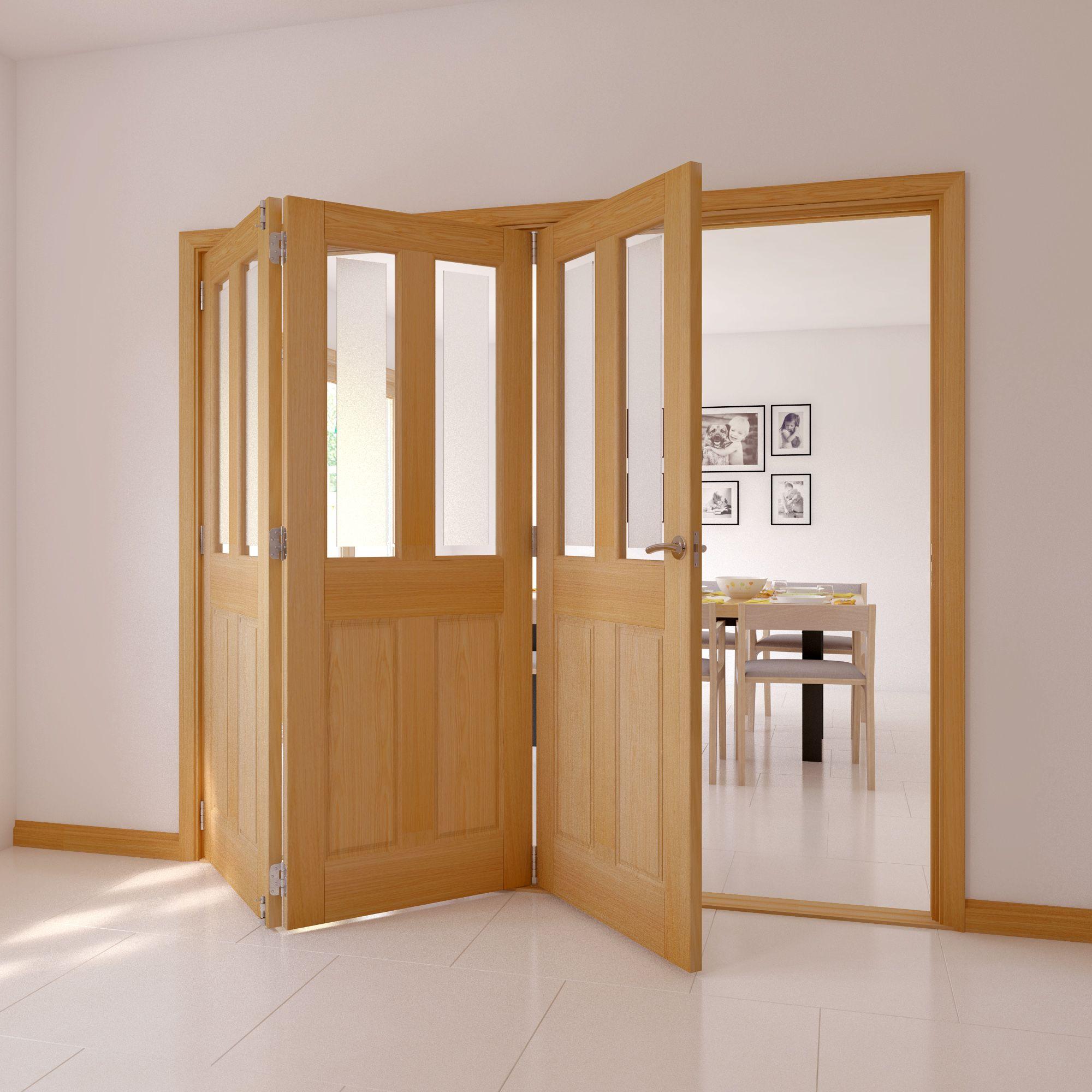 Elveden 4 Panel 2 Lite Oak Veneer Glazed Internal Folding Door Lh, (h)2035mm (w)2374mm