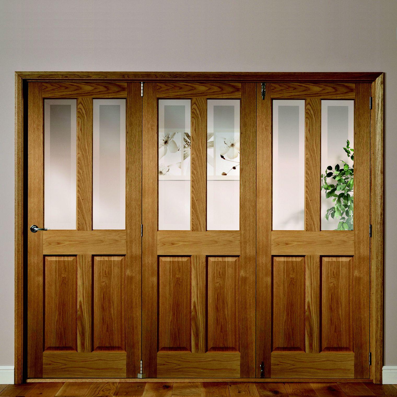 Elveden 4 Panel 2 Lite Oak Veneer Glazed Internal Folding Door Rh, (h)2035mm (w)2374mm