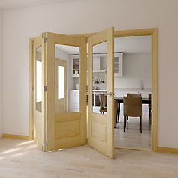 Severn Clear Pine Glazed Internal Trifold Door LH,