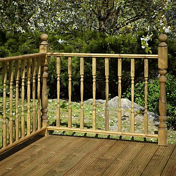 A raised deck with a balustrade around the edge