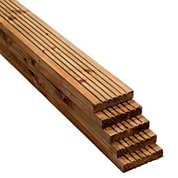 Value Brown Softwood Deck Board (T)25mm (W)120mm (L)2400mm,