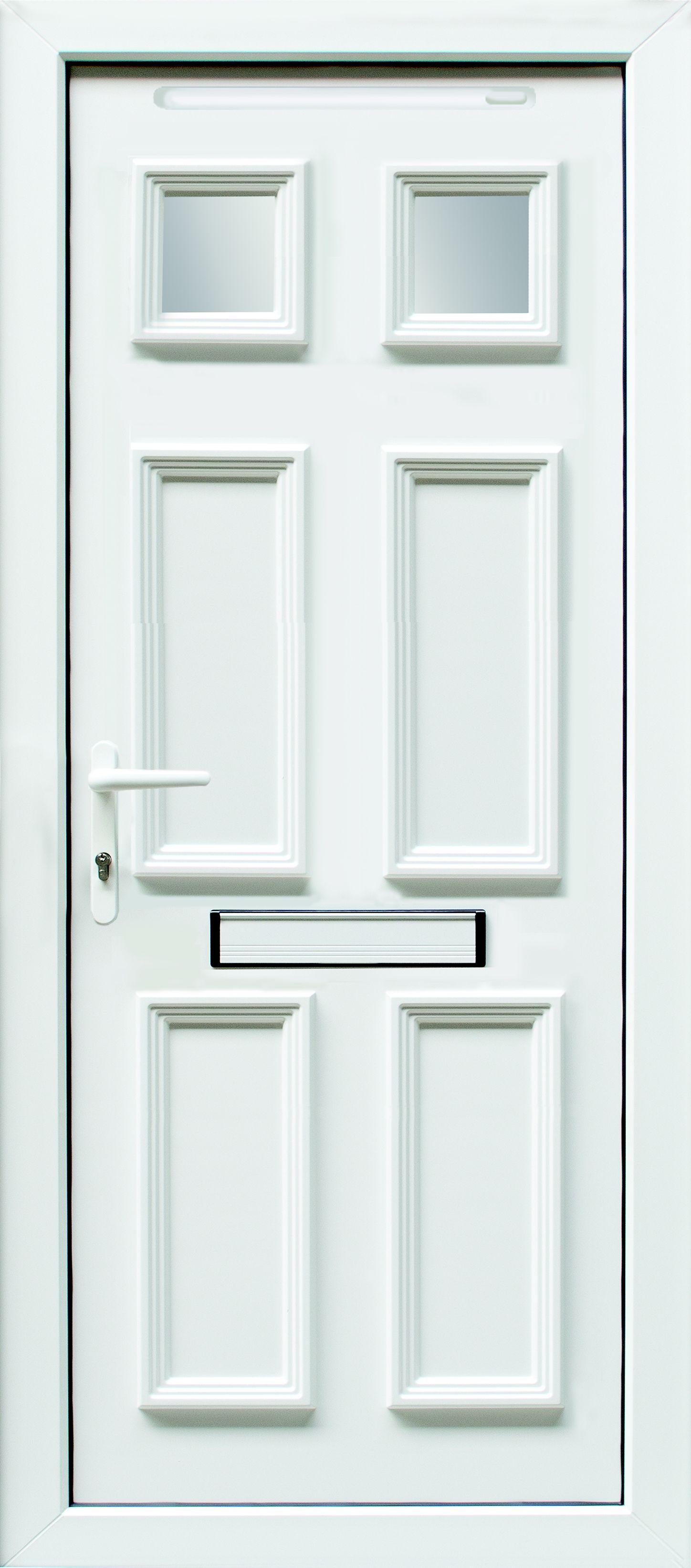 6 Panel Pvcu Glazed External Front Door U0026 Frame Rh, (h)2055mm (