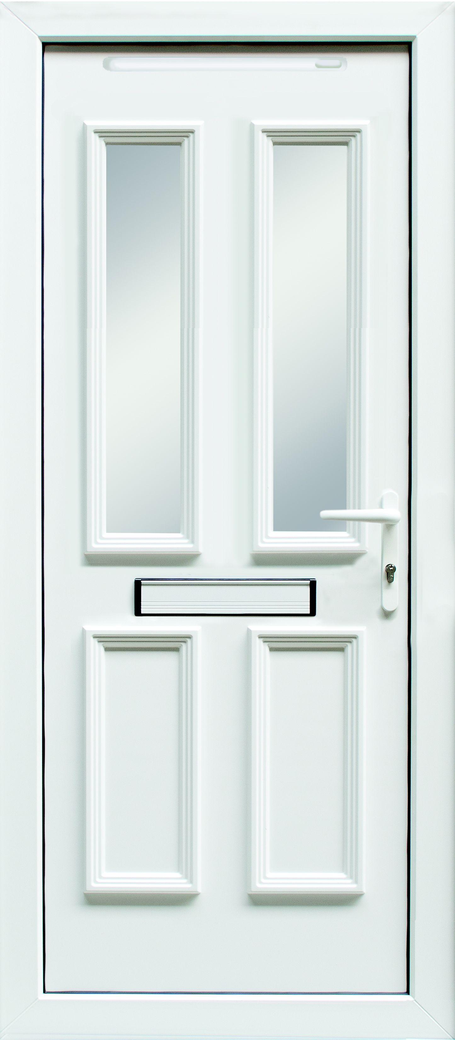 4 Panel Pvcu Glazed External Front Door U0026 Frame Lh, (h)2055mm (