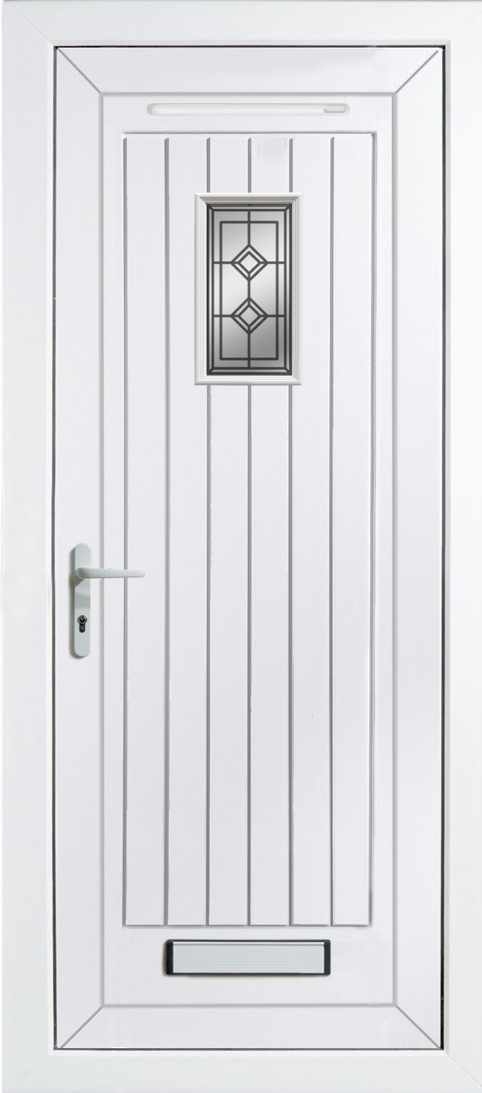 Cottage Panelled Pvcu Glazed External Front Door & Frame Rh, (h)2055mm (w)920mm