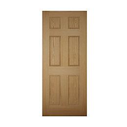 6 Panel White Oak Veneer Front Door &