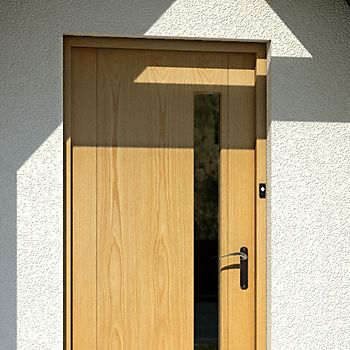Front door with door bell