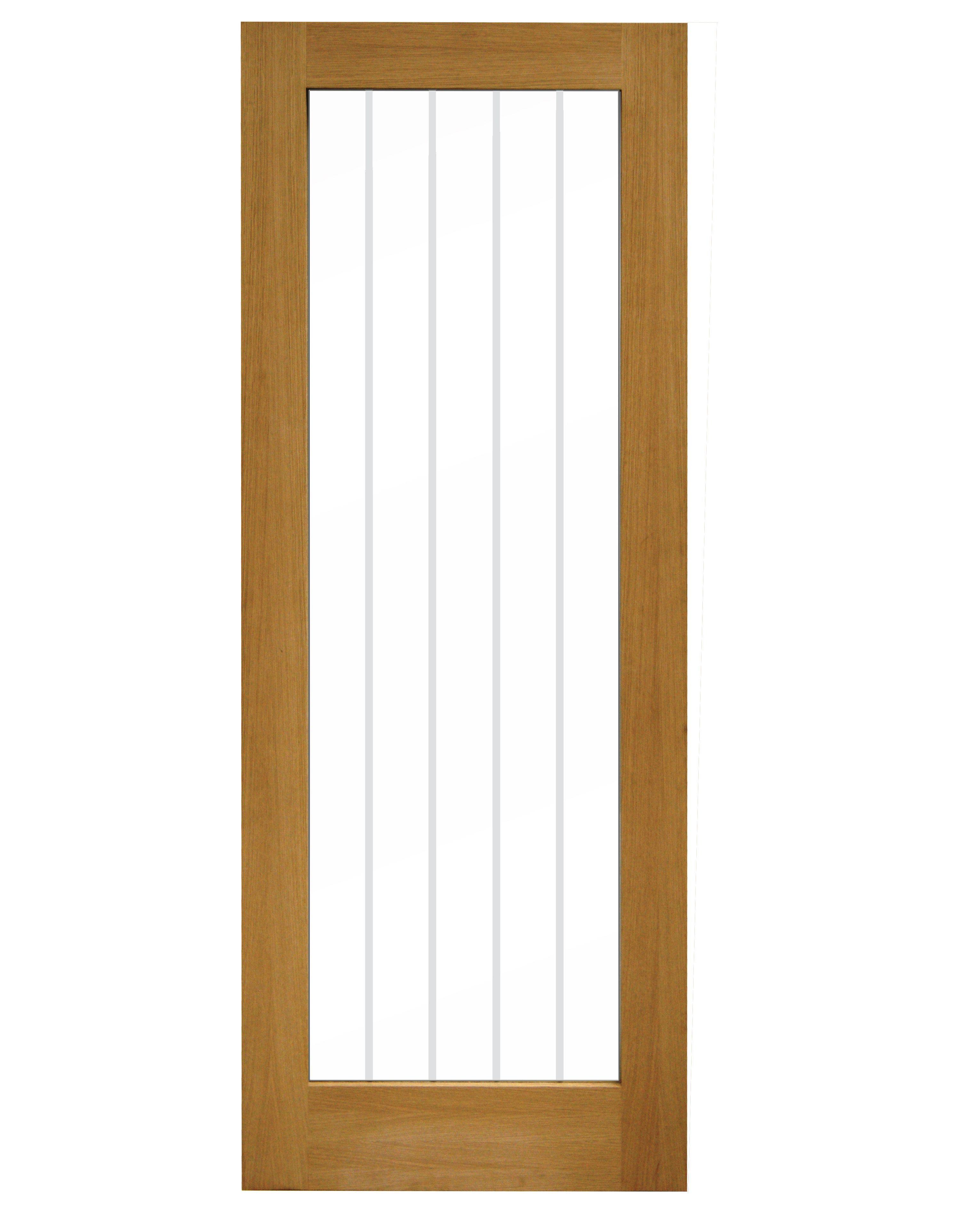 Cottage Panel 1 Lite Veneer Smooth Glazed Internal Standard Timber Door, (h)1981mm (w)762mm