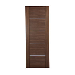 Flush 5 Panel Walnut Veneer Internal Unglazed Door,