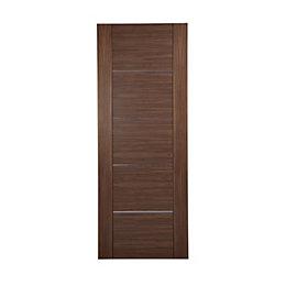 Flush 5 Panel Walnut Veneer Internal Unglazed Door,