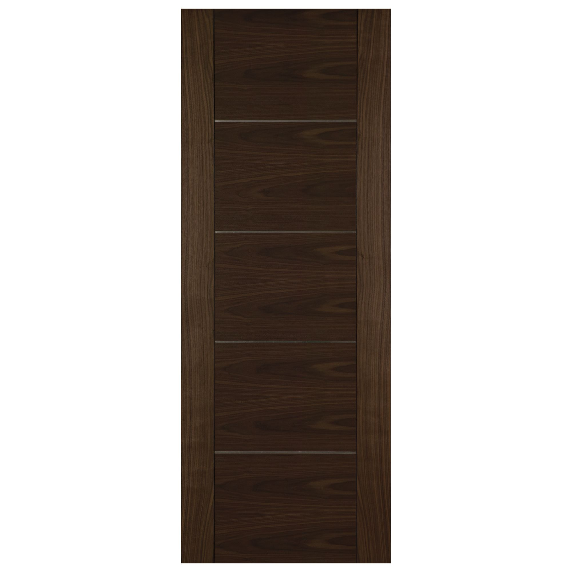 Flush 5 Panel Walnut Veneer Unglazed Internal Standard Door H 1981mm W 838mm Departments