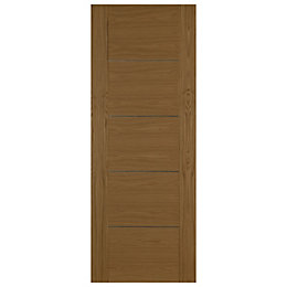 Flush 5 Panel Oak Veneer Internal Unglazed Door,
