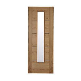 Flush 5 Panel Oak Veneer Glazed Internal Door,