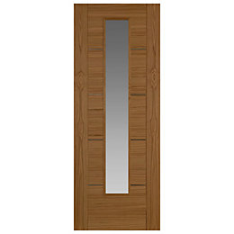 Flush 5 Panel Oak Veneer Glazed Internal Door,