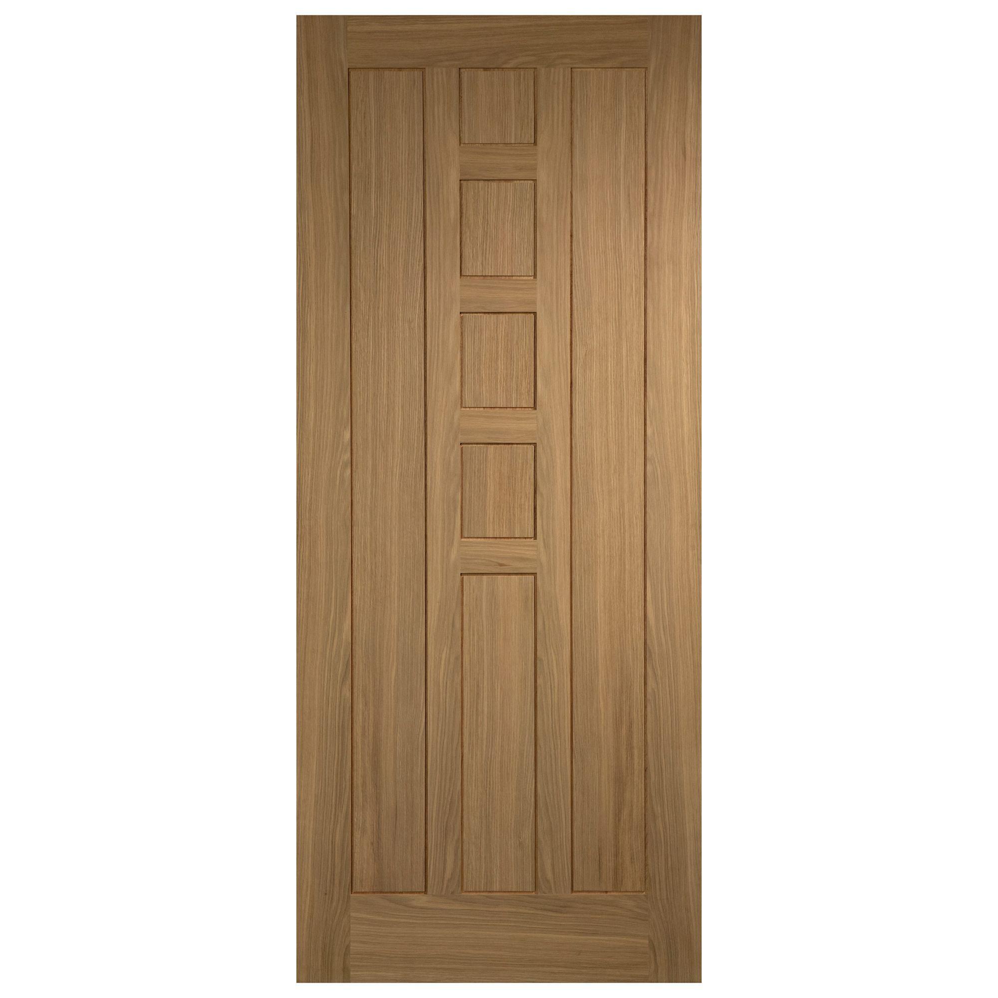 Medway oak veneer timber external front door h 2032mm w for Wood veneer garage doors