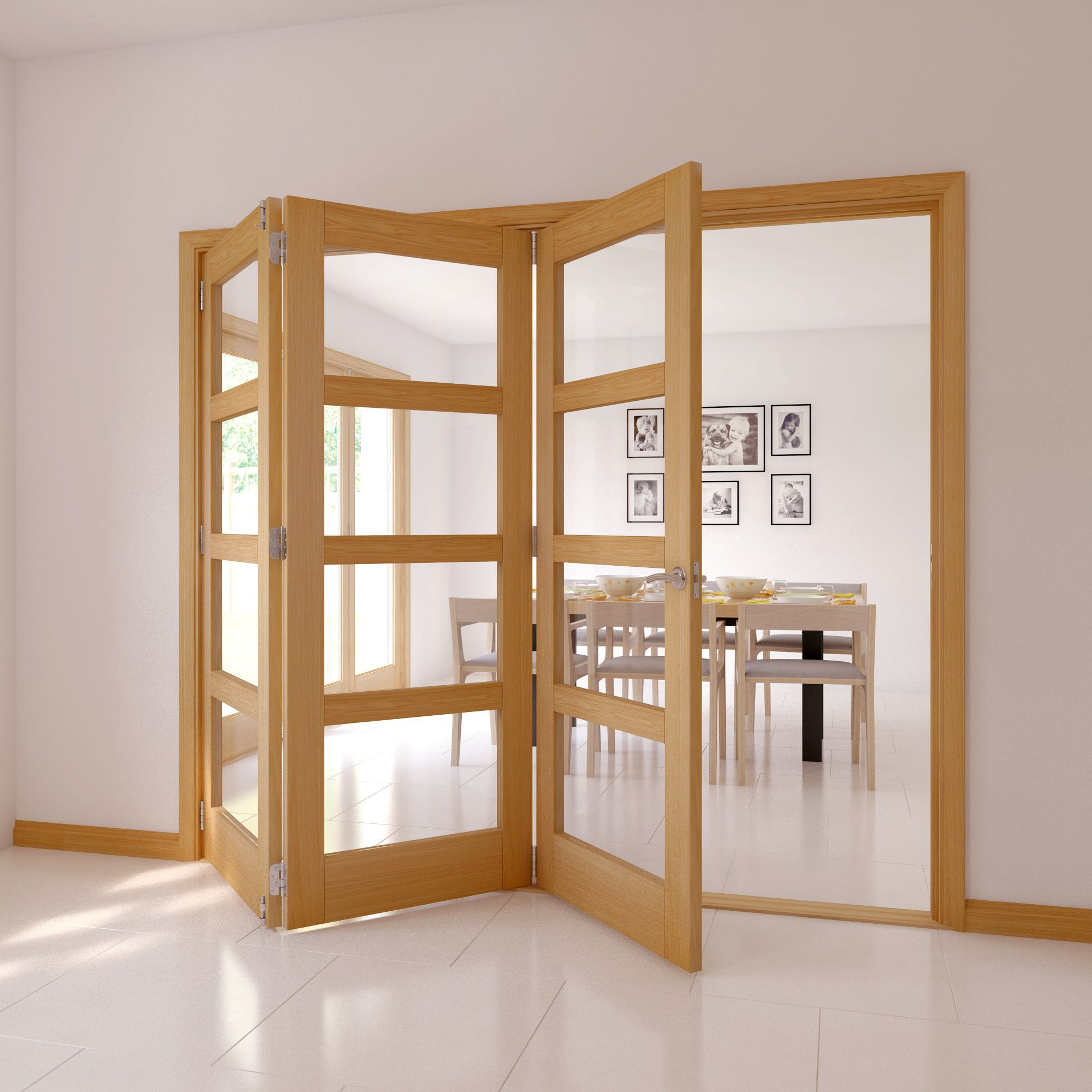 Bi fold glazed door diy 4 panel 4 lite oak veneer glazed internal folding door h2035mm eventelaan Choice Image