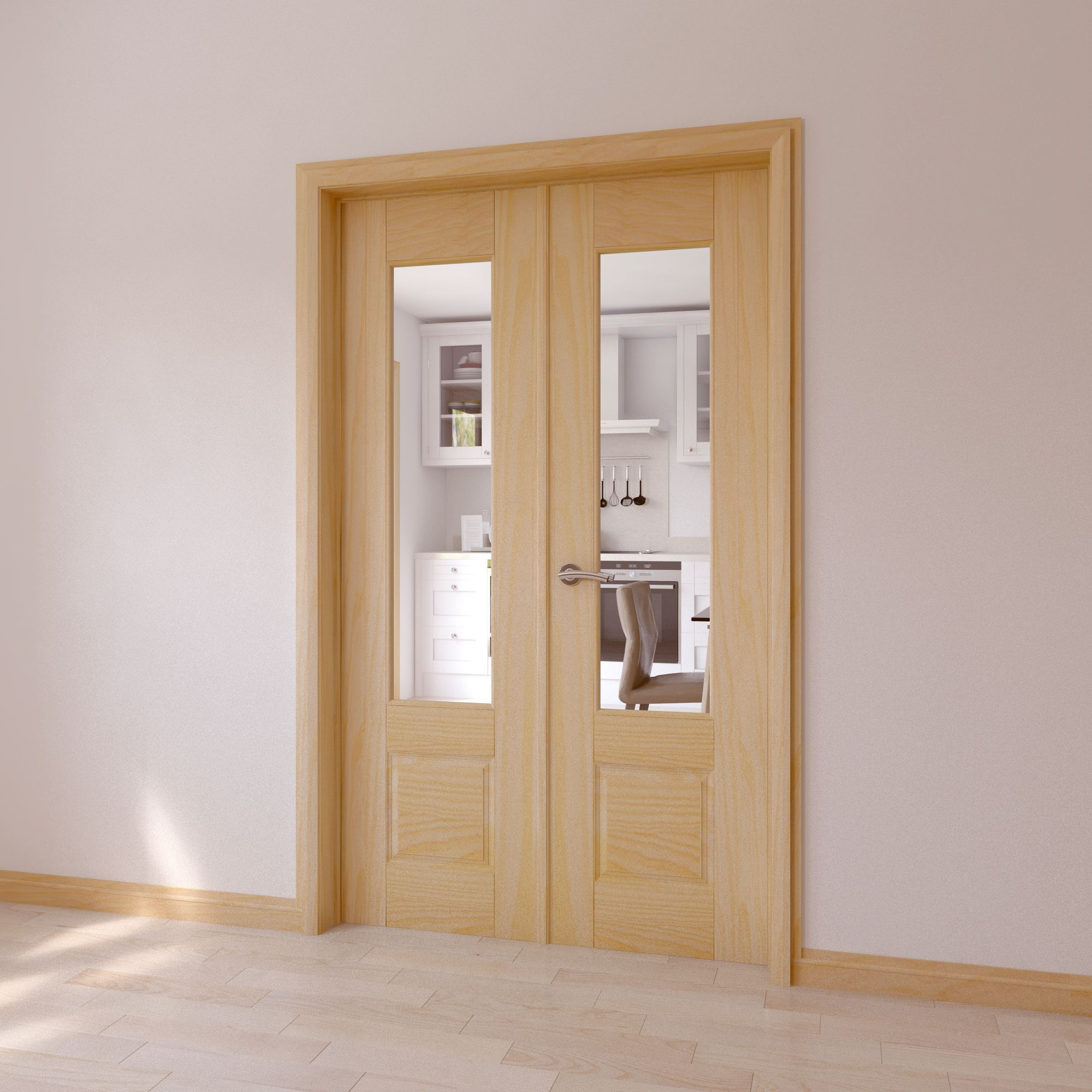 Clear glazed 2 panel clear pine internal french door set for Double glazed glass panels