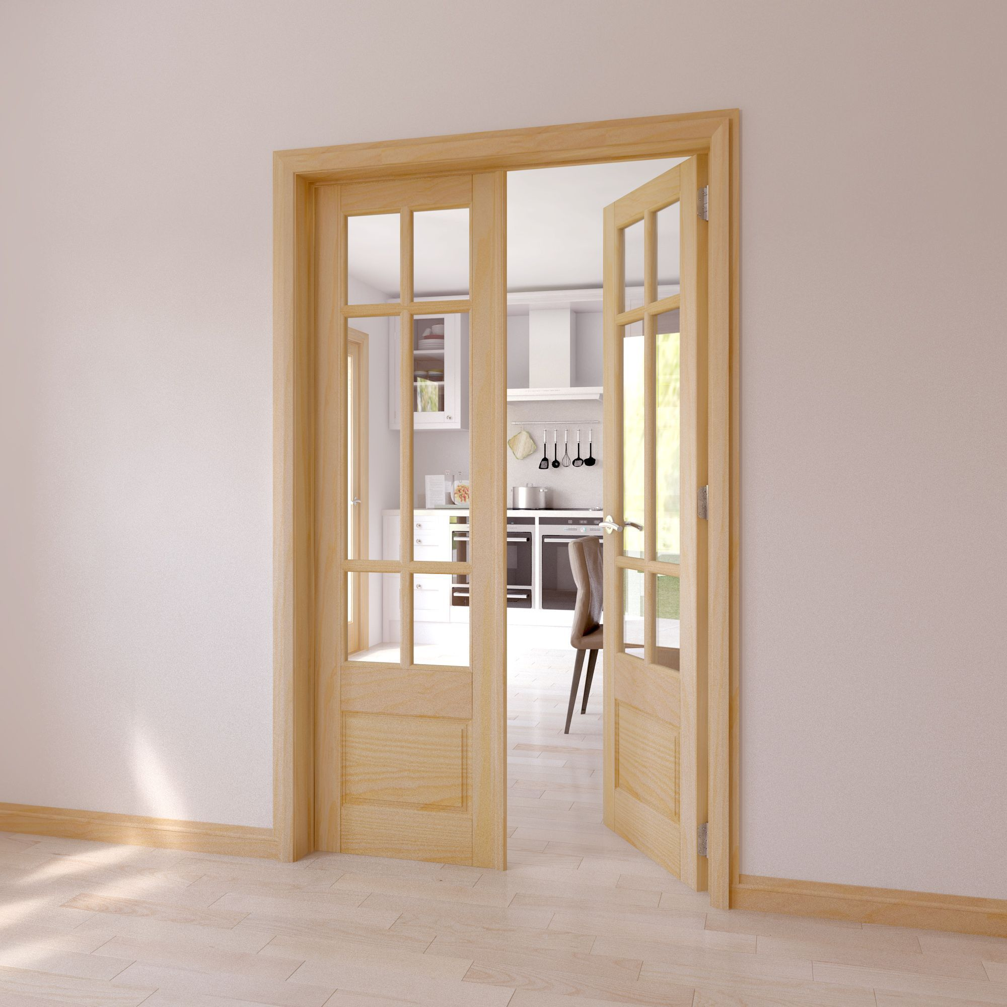 6 Lite Clear Glazed 2 Panel Internal French Door Set H1981mm W