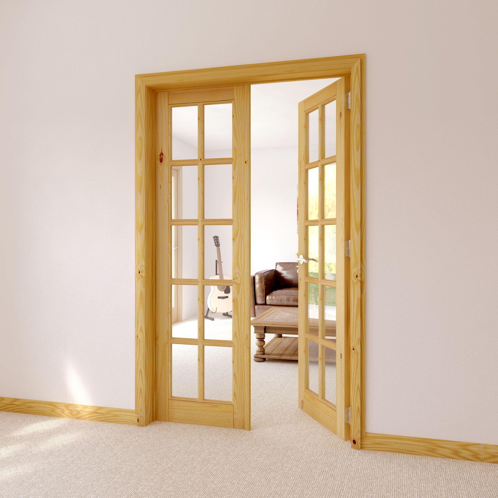 10 Lite Clear Glazed Internal French Door Set, (H)2030mm (W)760mm |  Departments | DIY at B&Q