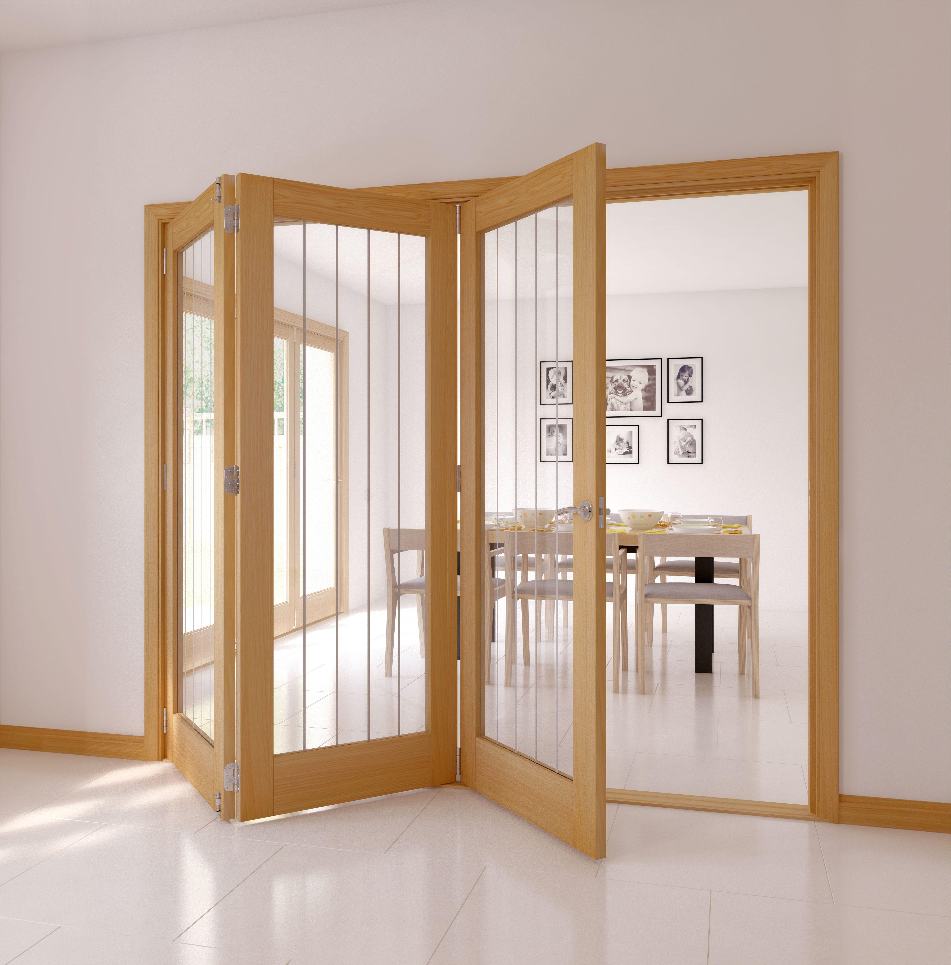 Cottage Panel 1 Lite Oak Veneer Glazed Internal Folding Door Lh, (h)2035mm (w)2374mm